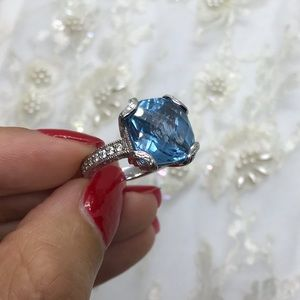 Blue Topaz Tacori Ring 925 Silver Diamond Accents